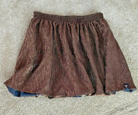 Lucky IKKS Girl Skirt Reversable Stars/Shinny Brown Age 12 French Designer
