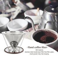 Edelstahl Handkaffee Filter Kaffeebereiter Kanne Manuelle Hand Tropf Maschensieb