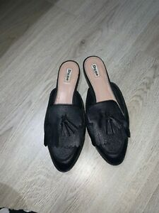 Dune size 7 black backless shoes