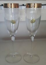 SET OF TWO CELLINI CRYSTAL FLUTES ENCRUSTED WITH 24K GOLD