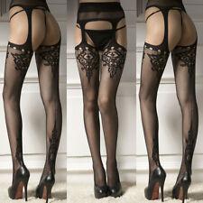 Spitze Sexy Damen Strumpfhose  Strumpfhosen Socken Tights mit STRUMPFBAND Schwar