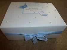 Christening Boy/girl Baby Gift Personalised Keepsake Box Memory Box Blue/Pink