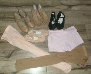 Girls Capezio & Bloch Dance BALLET & TAP SHOES Jazz Booties TIGHTS Size 1 & S/M