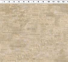 $7 Per Yard Special COFFEE HOUSE Khaki Words Quilt Fabric Sue Zipkin #Y1888-12