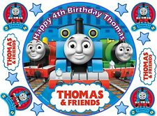 THOMAS THE TANK ENGINE PERSONALISED EDIBLE ICING BIRTHDAY CAKE TOPPER 8 INCHES