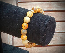 Natural Tan & Beige Picture Stone Gemstone Bead BRACELET