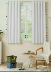 Pillowfort Blackout White Tassel Curtain Panel 63 x 42 in. NEW