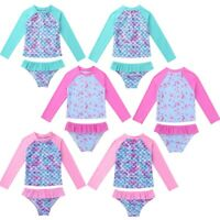 Girls Long Sleeves Tankini Swimsuit Swimwear Rash Guard Beachwear Bathing Suit
