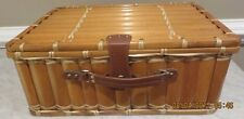 Picnic Basket with service for Four - Tartan Cloth Interior - Bamboo - NEW