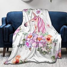 King Dare Animal Cuat Flower Unicorn Sofa Blanket for Girls, Lightweight Travel