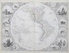 c1854 WESTERN HEMISPHERE WORLD Genuine Antique Map by Rapkin FREE P&P WORLDWIDE