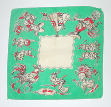 Vintage Childrens Handkerchief Hankie Cowboys And Indians Chickens Ducks Rooster