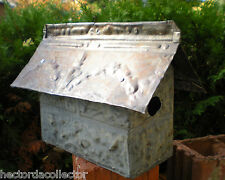 Sale Primitive Hand Tooled Antique Ceiling Tin Tile Brick Bird House Fleur De Li