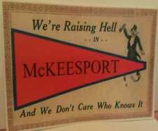 Raising Hell In McKeesport Pa. Antique Flag Postcard Design Poster Sign
