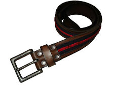 Abercrombie and Fitch AF Brown Leather Red Blue Moose Belt 34 fits 36