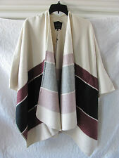 Sanctuary Open Front Poncho Cape Jacket Wrap-Red/Black/Ivory-Size XS/S -NWT $129