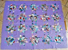 "VINTAGE HAND SEWN HANDCRAFTED QUILT BLANKET PURPLE STAR PATTERN 77"" x 62"""