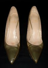 STUART WEITZMAN METALLIC GOLD PUMP POINTED TOE SHOES 4.5M MADE IN SPAIN