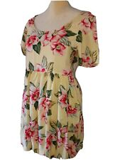 Vintage 1990s Moda Int'L Yellow Hawaiian Floral Babydoll Dress Womens Small