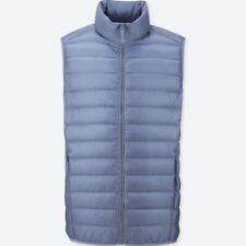 Uniqlo Men size L Ultra light down vest Blue with pouch bag pocketable