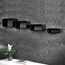 4er Set Wandregal Hängeregal Bücher Regal Cube Lounge CD Board schwarz 0000094