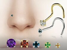 Personalized Prong-set Birthstone 24G 14kt Yellow or White Gold Nose Screw Ring