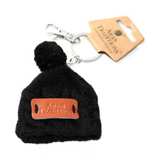 Aran Traditions Womans Ladies Men Winter Knitted Style Black Beanie Hat Keyring