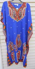 MUU MUMU 1X 2X 3X SANTE KAFTAN CAFTAN HOUSE DRESS BLUE RED MICROFIBER