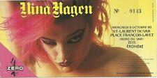RARE / TICKET BILLET CONCERT - NINA HAGEN : LIVE A ST LAURENT DU VAR FRANCE 1980