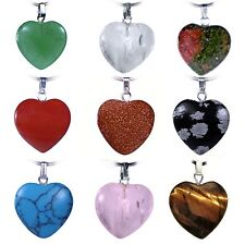 Heart Pendant Gemstone Heart Amulet with Silver-Plated Eyelet Various Choices
