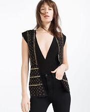 ZARA size M Sequin Beaded Lace Waistcoat Blouson Jewelled Gilet Paillettes Chemisier