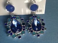 Nine West Blue Lever back Drop Earrings New Club Prom Wedding