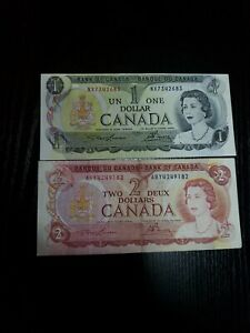 🇨🇦 Canada 1 dollar 1973 P-85a  & 2 dollars 1974 P-86a Currency Banknote  (A)