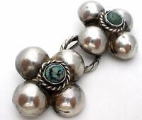 Art Deco Sterling Silver Orb Brooch with Turquoise Gemstones Mexican Flower Pin