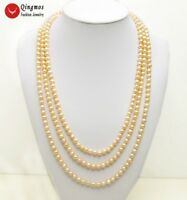Trendy Natural Pearl Women Necklace with 7-8mm Pink Pearl 80'' Necklace-nec1639