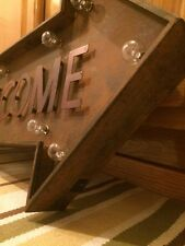 """Lighted Welcome Arrow Vintage Style 26x14"""" Metal Man Cave Garage Home Entrance"""