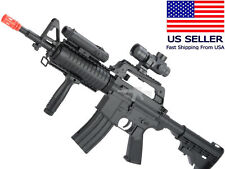 AIRSOFT Spring Powered Rifle Gun M4 Style+Flashtlight, Red Dot, Grip, BBs, Sling