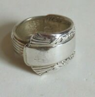 Vintage Spoon Ring Jewelry Silvertone Size 8 (BB355)