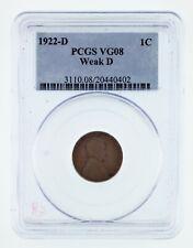 1922-D 1C Wheat Penny Weak D Graded by PCGS as VG-08! Gorgeous!