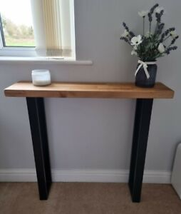 solid OAK industrial Console Table - Narrow Hall Table - Rustic - Chunky -