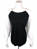 Rachel Hollis Ltd Womens Raglan Sleeve Baseball T-Shirt Black/White 1X Plus Size