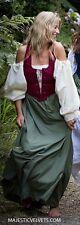 3P Renaissance Peasant Front-lace Dress Chemise Costume Wn/Grn Xs S M L Xl Plus