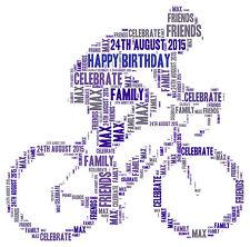 Vélo Personnalisé Vélo mot art print cadeau d'anniversaire ou de toute occasion