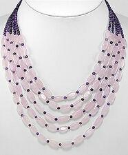 "19"" Natural Purple Amethyst & Pink Rose Quartz Statement Piece Necklace"