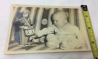 Vintage Photo Baby Boy w/ Tin Soldier Present Christmas Mid-Century Sofa 1948/49