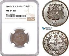 AF075 British North Borneo, 1/2 Cent 1907-H, Heaton, NGC MS64BN, Key Date, Rare!