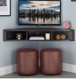 Espresso Wall Mounted Floating Corner Media Console-Multifunctional