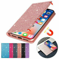 For Samsung Note 20 S21 S20 FE S10 S9 S8 Glitter Leather Wallet Flip Case Cover