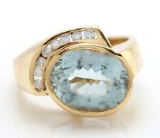 4.07 Carat Natural Blue Aquamarine and Diamonds in 14K Solid Yellow Gold Ring