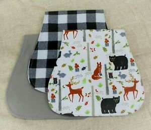 Woodland Animals/Buffalo Plaid Cotton Flannel Burp Cloth Set of 3 -Personalized